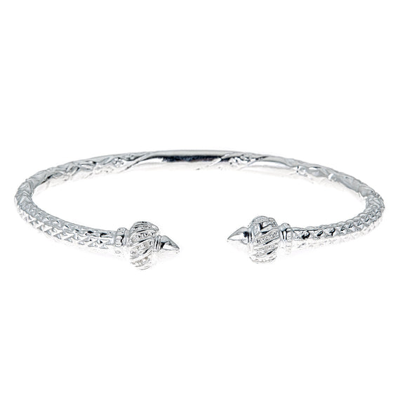 Ridged Arrow .925 Sterling Silver West Indian Bangle (40 grams) - Betterjewelry