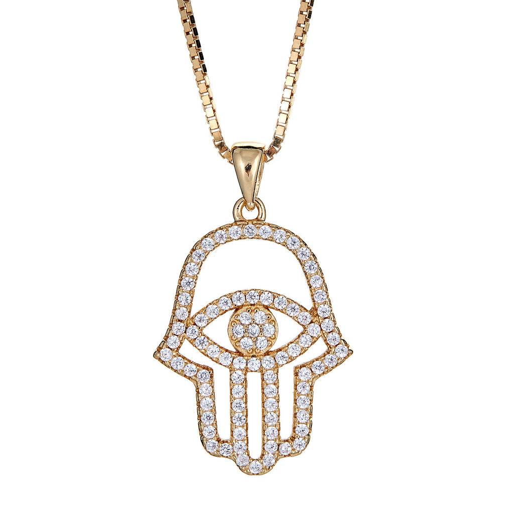 14K Gold Plated on .925 Sterling Silver Hamsa Hand and Evil Eye with Chain (7.5 gram)