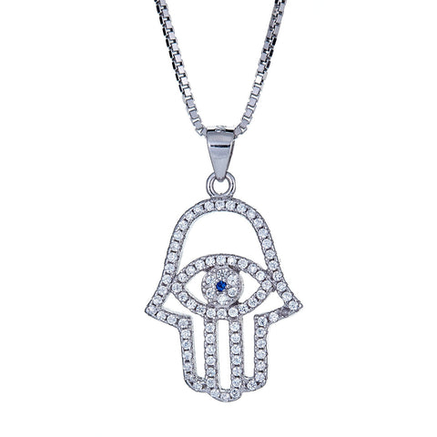 925 Sterling Silver Hamsa Hand and Blue Evil Eye with Chain (7.5 gram) - Betterjewelry