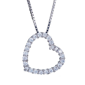 925 Sterling Silver Vintage Heart Pave CZ Stones with Chain (6 grams) - Betterjewelry