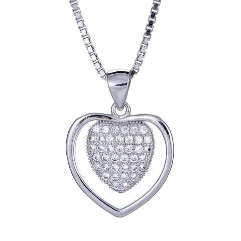 925 Sterling Silver Better Together Heart Micro Pave Pendant with Chain (6 grams)