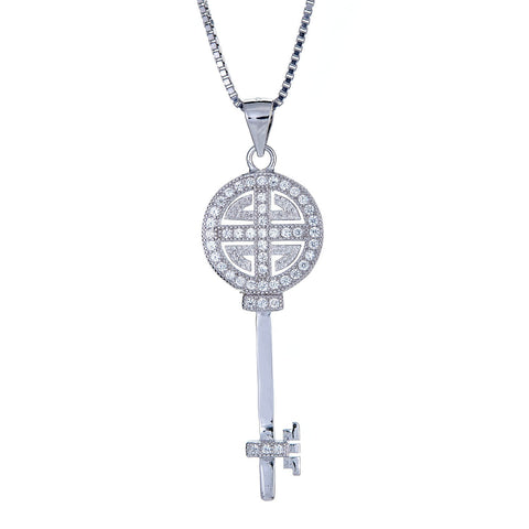 925 Sterling Silver Modern Micro Pave Key Pendant with Chain (6.5 grams) - Betterjewelry