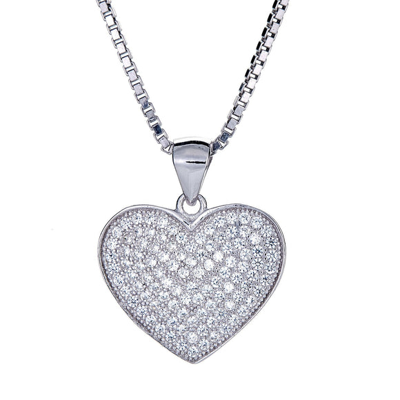 925 Sterling Silver True Heart Micro Pave Pendant (6 grams) - Betterjewelry