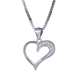 925 Sterling Silver Divided Heart Pendant with Chain (5 grams) - Betterjewelry