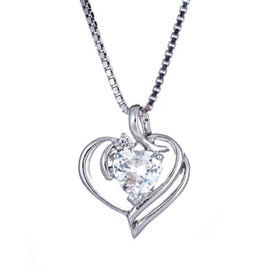 925 Sterling Silver Solitaire Heart Pendant with Chain (6 grams) - Betterjewelry