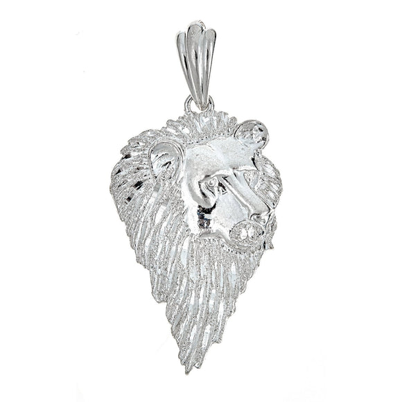 925 Sterling Silver Pensive Lion Pendant (9 Grams) - Betterjewelry