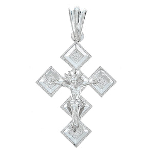 925 Sterling Silver Diamond Shaped Crucifix Pendant - MADE IN USA (11 grams) - Betterjewelry