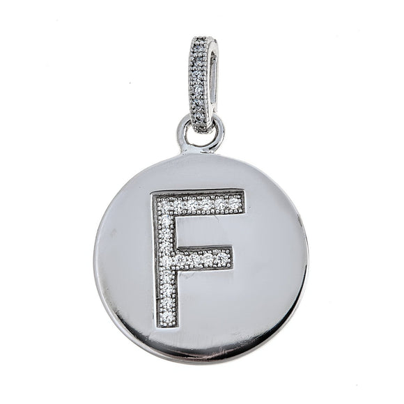 925 Sterling Silver Round Initial Pendant (3 grams) - Betterjewelry