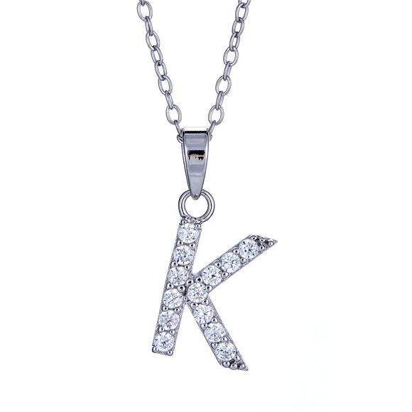 925 Sterling Silver Classic CZ Studded Initial Pendant (2 grams) - Betterjewelry