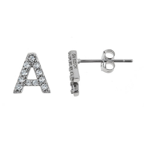 925 Sterling Silver Classic CZ Studded Initial Earrings - Betterjewelry