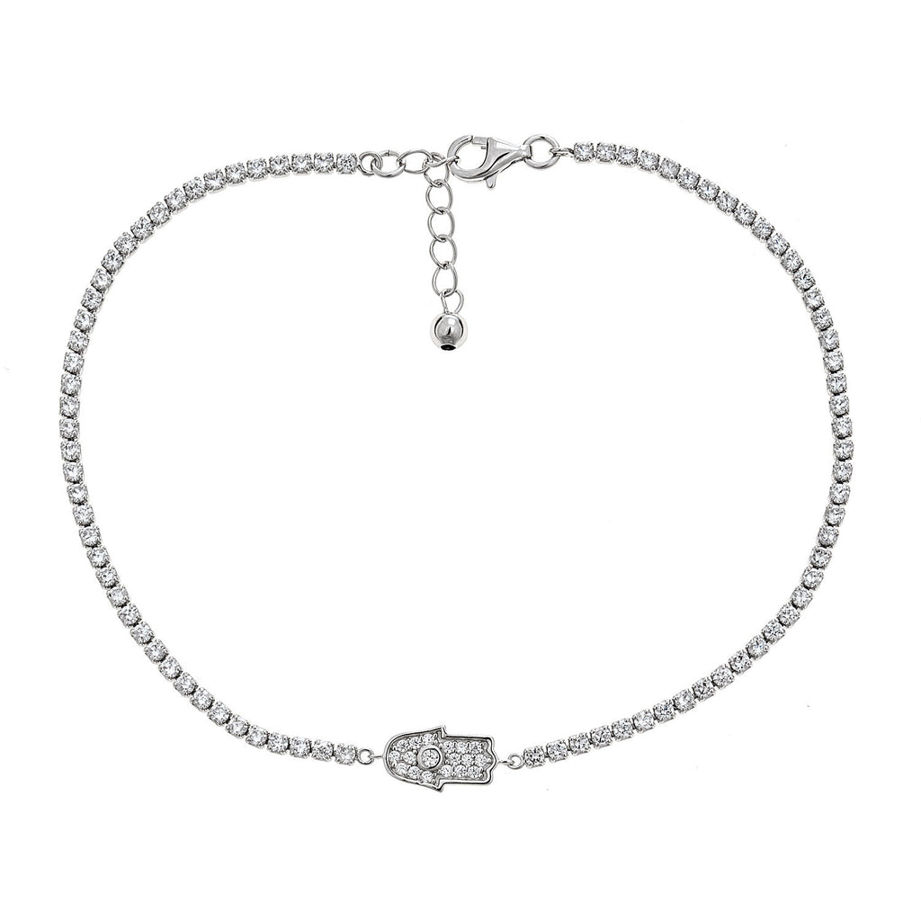 Women's .925 Sterling Silver Hamsa Hand Anklet (5 grams)