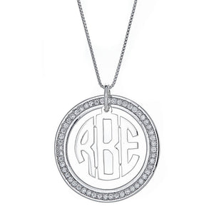 CZ Halo Modern Three Letter .925 Sterling Silver Monogram Pendant with Chain (6 grams) - Betterjewelry