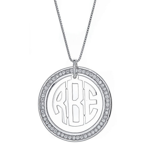 CZ Halo Modern Three Letter .925 Sterling Silver Monogram Pendant with Chain (6 grams)