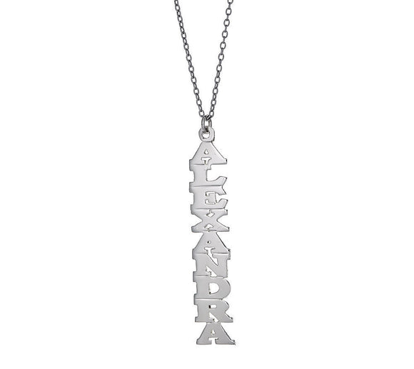 Personalized .925 Sterling Silver Vertical Print Nameplate with Chain, 2 grams, MADE IN USA - Betterjewelry