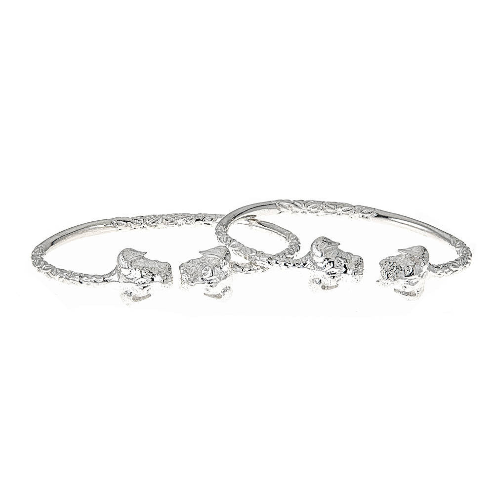 Solid .925 Sterling Silver West Indian Bangles with Puppy Ends (PAIR)