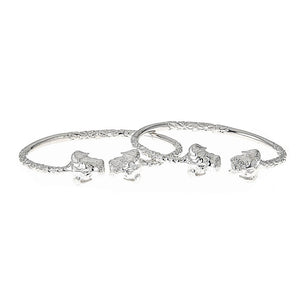 Solid .925 Sterling Silver West Indian Bangles with Puppy Ends (PAIR) - Betterjewelry