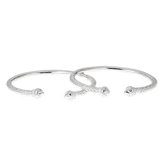 Solid .925 Sterling Silver West Indian Bangles with Fancy Pointed Ends (PAIR) - Betterjewelry