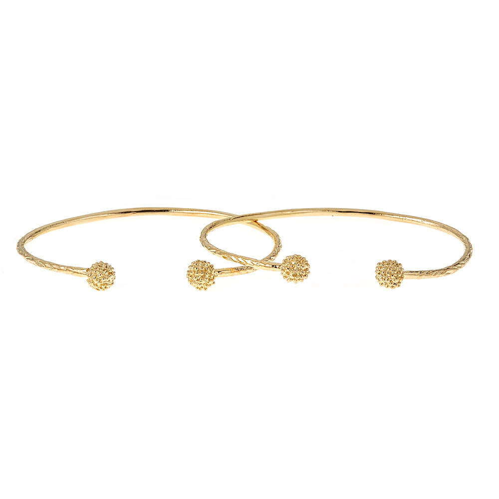 Solid .925 Sterling Silver Disco Ball Ends West Indian Bangles Plated with 14K Gold (PAIR) - Betterjewelry