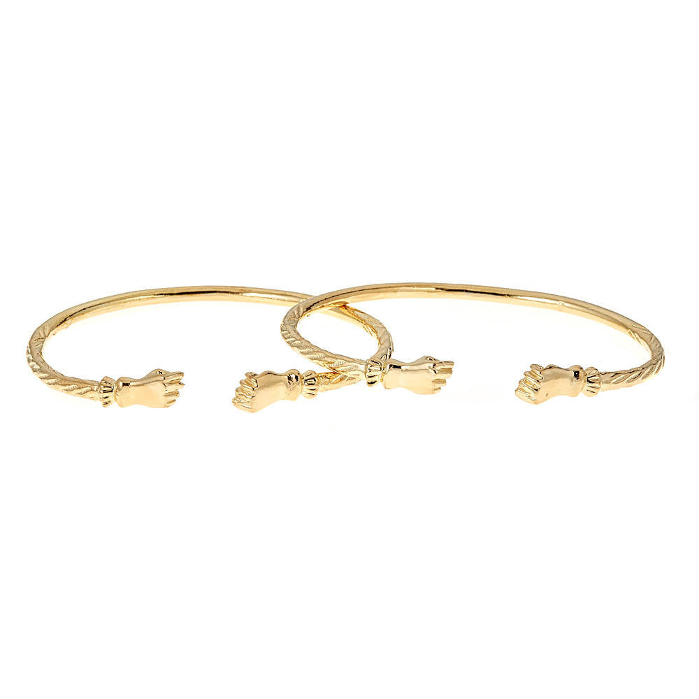 Solid .925 Sterling Silver Fist Ends West Indian Bangles Plated with 14K Gold (PAIR)