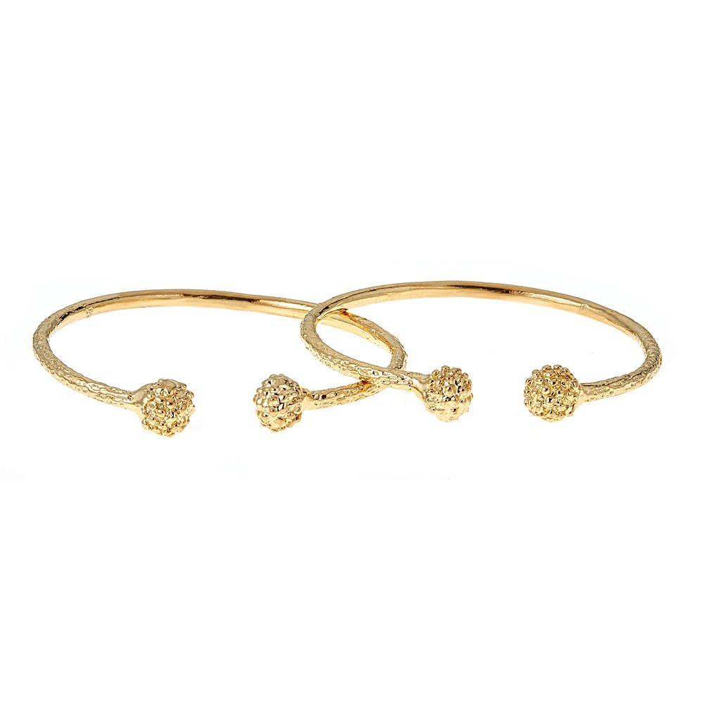 BABY  925 Sterling Silver Disco Ball Ends West Indian Bangles Plated w  14K  Gold (PAIR)