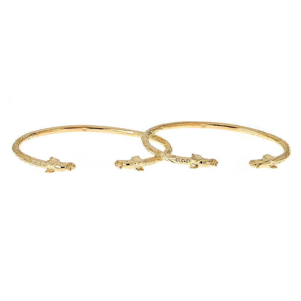 Solid .925 Sterling Silver Elephant Ends West Indian Bangles Plated with 14K Gold (PAIR)