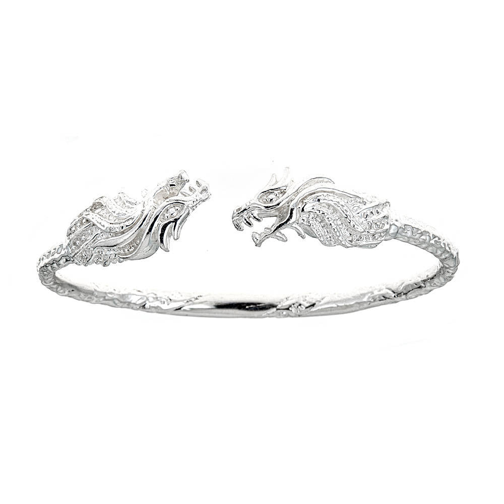Solid .925 Sterling Silver West Indian Bangle with Dragon Ends (Made in USA)