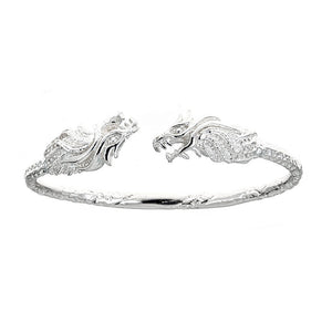 Solid .925 Sterling Silver West Indian Bangle with Dragon Ends (Made in USA) - Betterjewelry