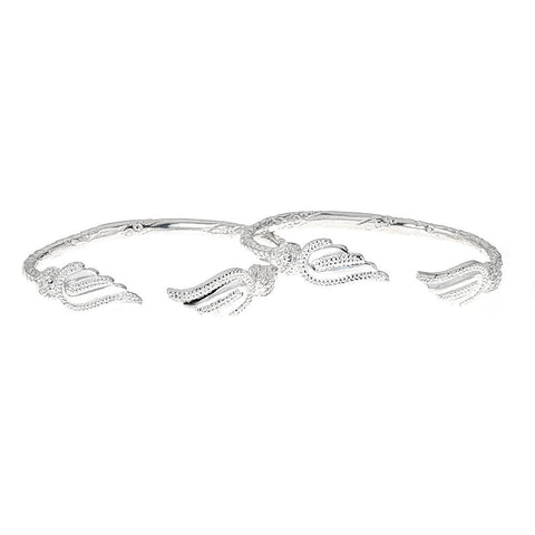 Solid .925 Sterling Silver West Indian Bangles with Wing Ends (PAIR)