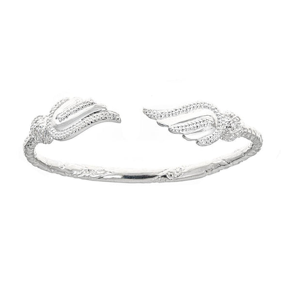 Solid .925 Sterling Silver West Indian Bangle with Wing Ends (Made in USA) - Betterjewelry