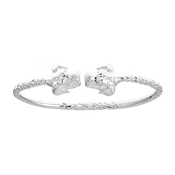 Solid .925 Sterling Silver West Indian Bangle with Puppy Ends - Betterjewelry