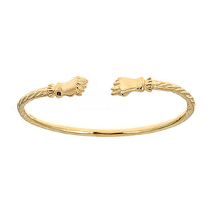 Solid .925 Sterling Silver Fist Ends West Indian Bangle Plated with 14K Gold (Made in USA) - Betterjewelry