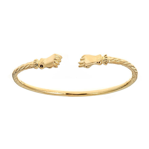 Solid .925 Sterling Silver Fist Ends West Indian Bangle Plated with 14K Gold (Made in USA)