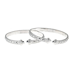 Solid .925 Sterling Silver Flat West Indian Bangles with Acorn Ends (PAIR) Made in USA - Betterjewelry