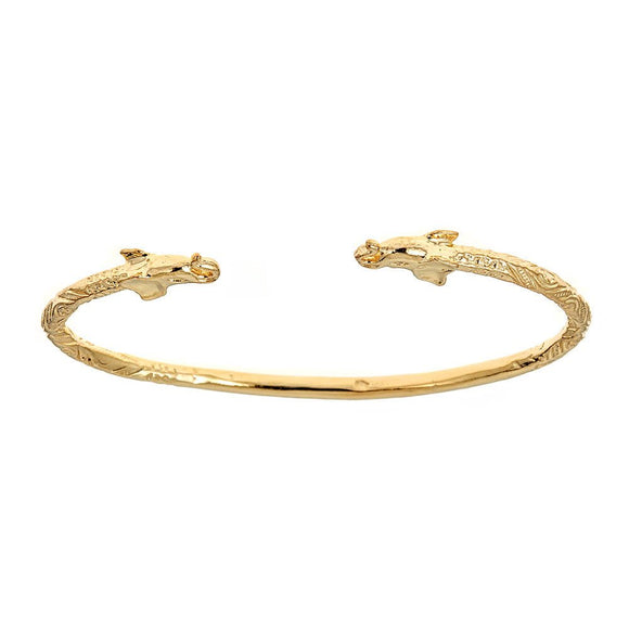 Solid .925 Sterling Silver Elephant Ends West Indian Bangle Plated with 14K Gold (22 grams) - Betterjewelry