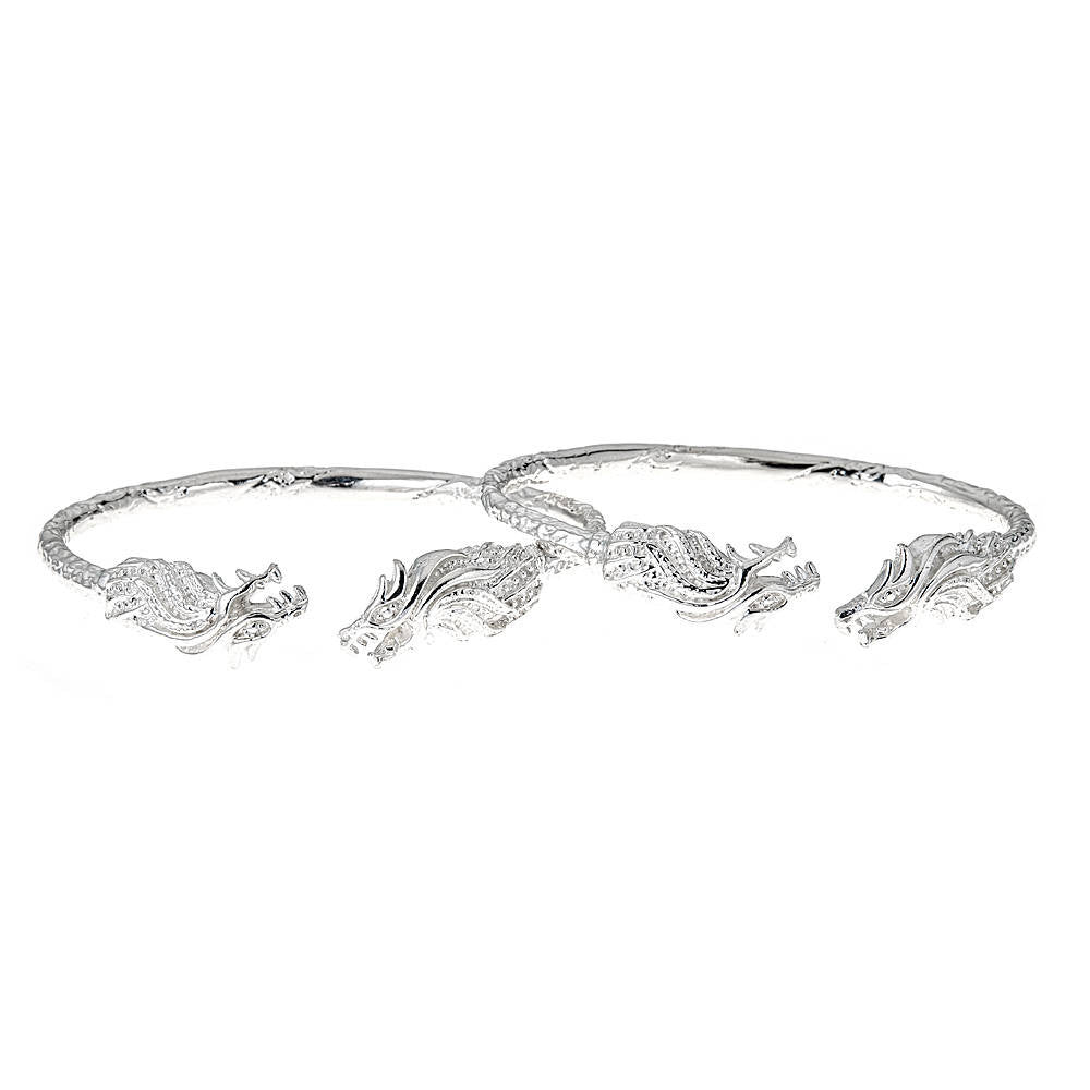 Solid .925 Sterling Silver West Indian Bangles with Dragon Ends; 93 grams (PAIR) - Betterjewelry