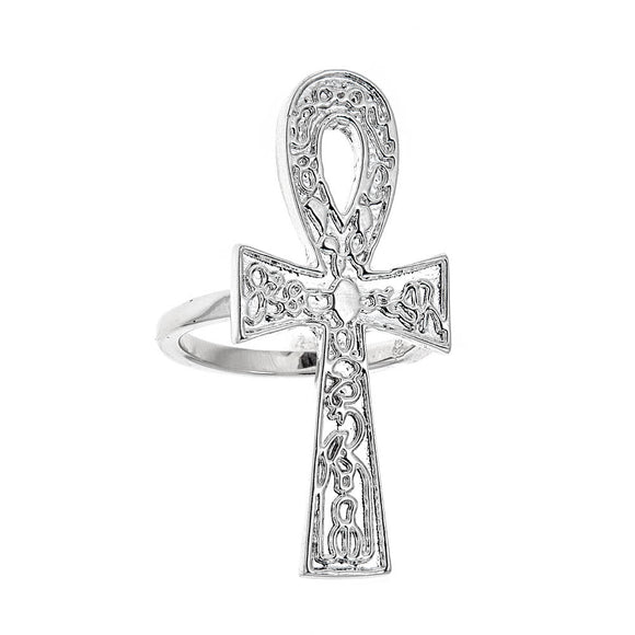 Etched Ankh Ring .925 Solid Sterling Silver Ring (7.5 grams) - Betterjewelry