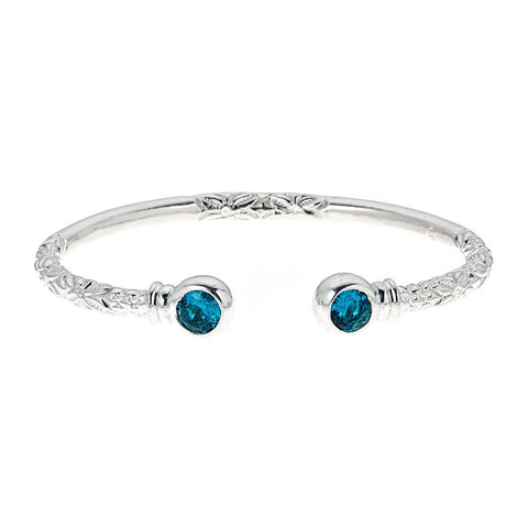 Personalized Birthstone Solid .925 Sterling Thick West Indian Bangles - Betterjewelry