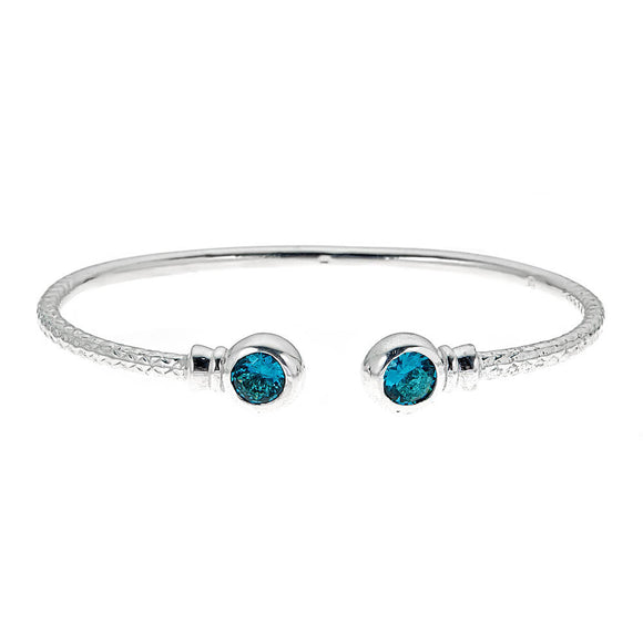 Personalized Birthstone Solid .925 Sterling BABY West Indian Bangles - Betterjewelry