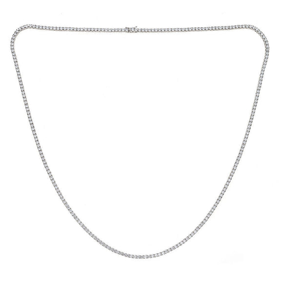Sterling Silver .925 Iced Out Chain with 3 mm Prong CZ Stones - Multiple Sizes Available