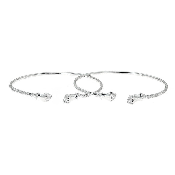 Solid .925 Sterling Silver Small Fist Bangles; 15 grams (Made in USA) - Betterjewelry