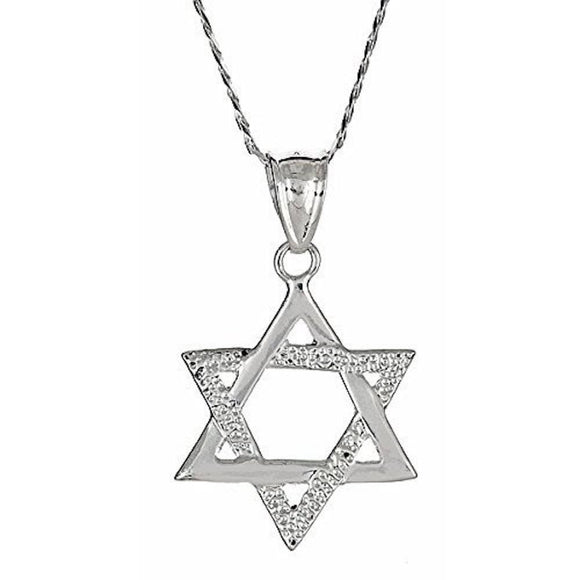 Small .925 Sterling Silver Magen David Jewish Star of David Pendant w. Chain - Betterjewelry