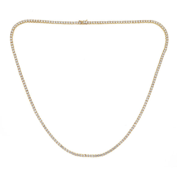 Sterling Silver .925 Iced Out Chain with 3 mm Prong CZ Stones - Gold Plated