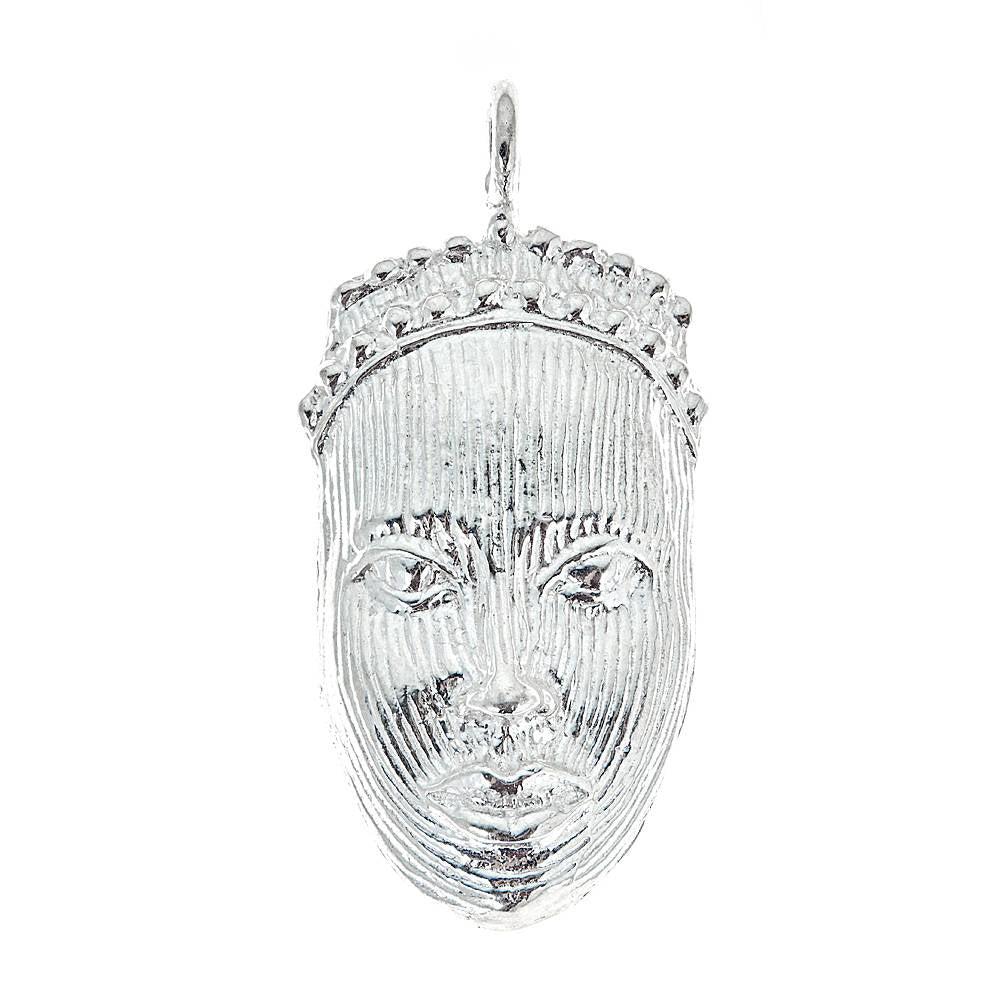 Carved African Mask .925 Sterling Silver Pendant (MADE IN USA) - Betterjewelry