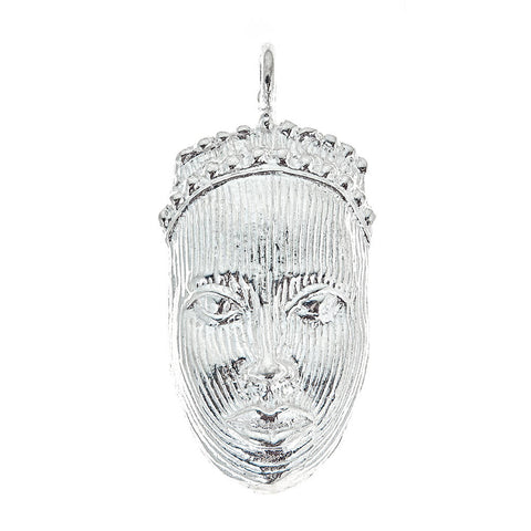 Carved African Mask .925 Sterling Silver Pendant (MADE IN USA)