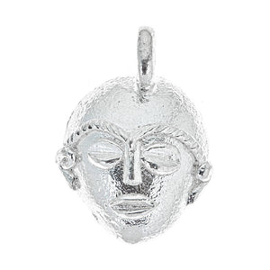 Round African Mask .925 Sterling Silver Pendant (MADE IN USA) - Betterjewelry