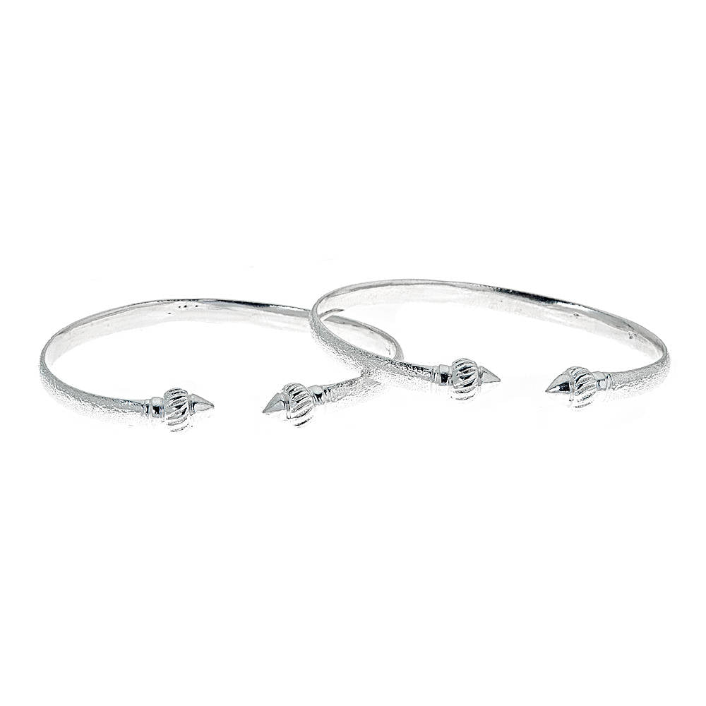 Solid .925 Sterling Silver Flat Ridged Arrow West Indian Bangles (MADE IN USA) - Betterjewelry