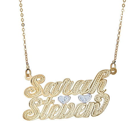 Personalized .925 Sterling Silver Lover's Nameplate Plated in 14K Gold w. Chain - Betterjewelry