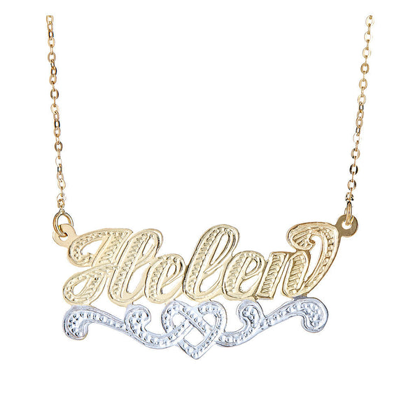 Personalized 14KGold Plated .925 Sterling Silver Heart Twist Nameplate w. Chain - Betterjewelry
