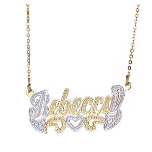 Personalized .925 Sterling Silver Open Heart Classic Nameplate Plated in 14K Gold w. Chain - Betterjewelry