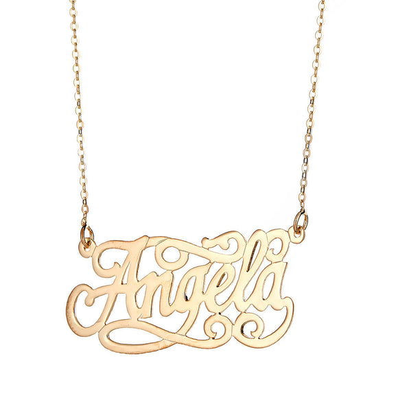 Personalized .925 Sterling Silver Fancy Script Nameplate Plated in 14K Gold w. Chain - Betterjewelry